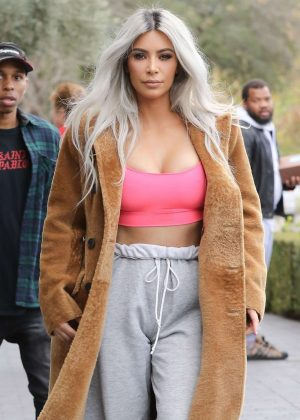 Kim Kardashian at XO Bloom Flower Shop in Calabasas