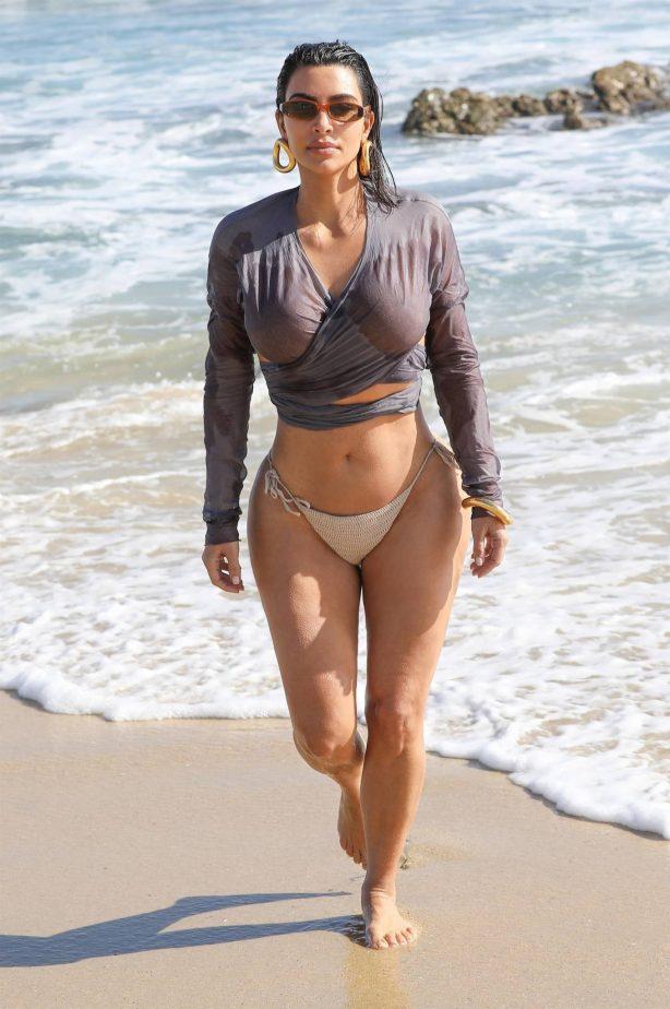 Kim Kardashian - Bikini candids the beach in Malibu