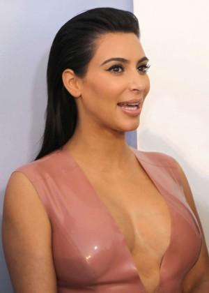 Kim Kardashian in Leather Dress -01