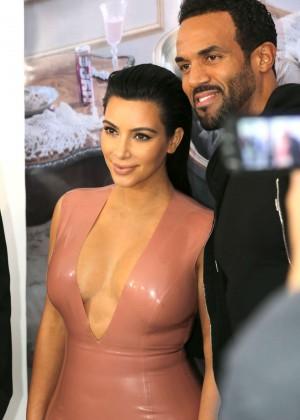 Kim Kardashian in Leather Dress -02