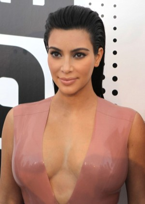 Kim Kardashian in Leather Dress -04