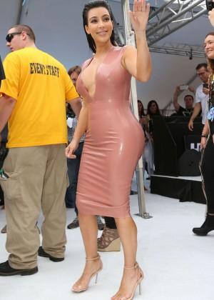 Kim Kardashian in Leather Dress -05