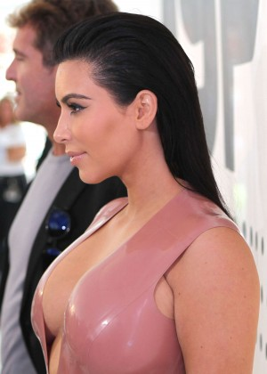Kim Kardashian in Leather Dress -06