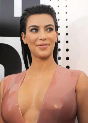 Kim Kardashian in Leather Dress -08