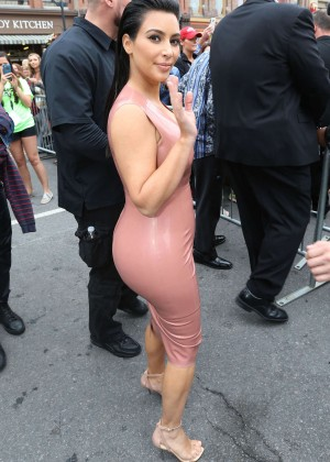 Kim Kardashian in Leather Dress -11