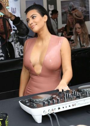 Kim Kardashian in Leather Dress -15