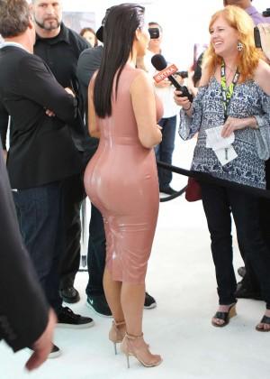 Kim Kardashian in Leather Dress -16