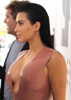 Kim Kardashian in Leather Dress -17