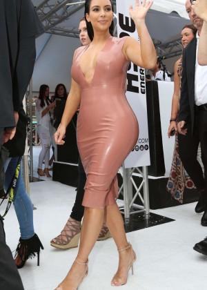 Kim Kardashian in Leather Dress -19