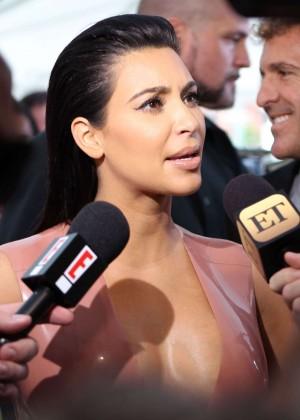 Kim Kardashian in Leather Dress -21