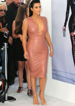 Kim Kardashian in Leather Dress -25