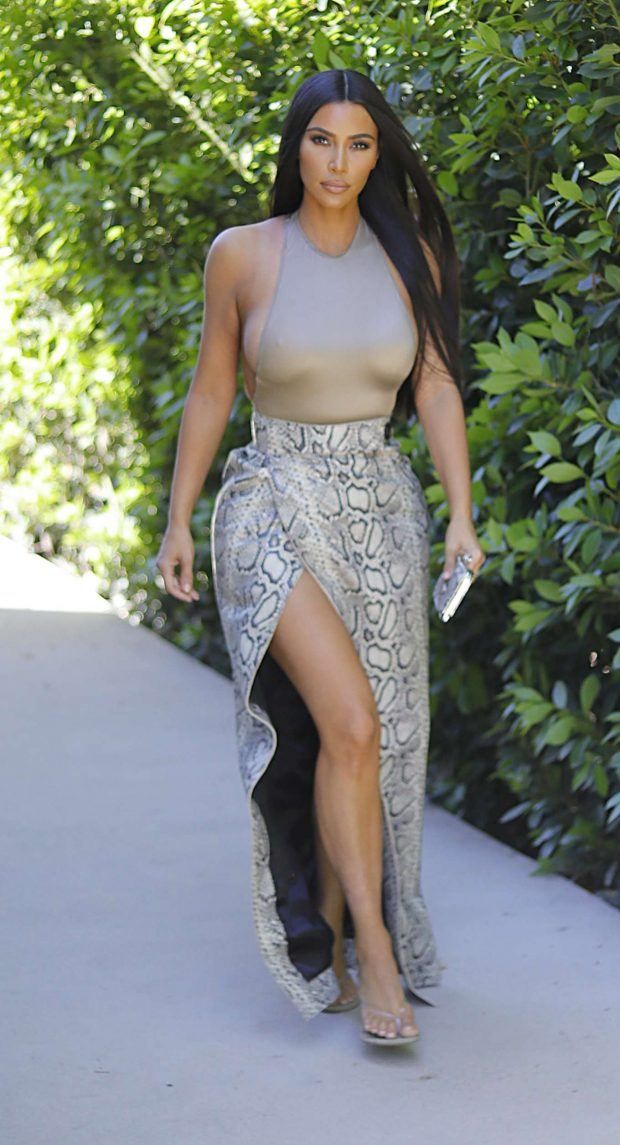 Kim Kardashian in a Snake Skin Skirt - Out in Los Angeles