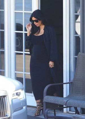 Kim Kardashian in Black Dress at a Studio in LA