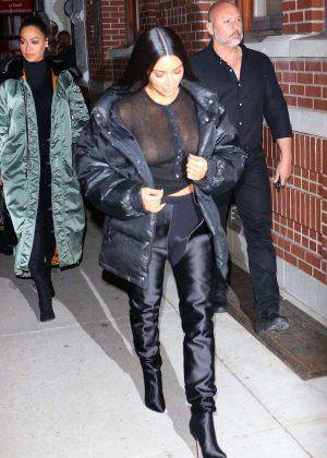 Kim Kardashian in Black Night Out in New York