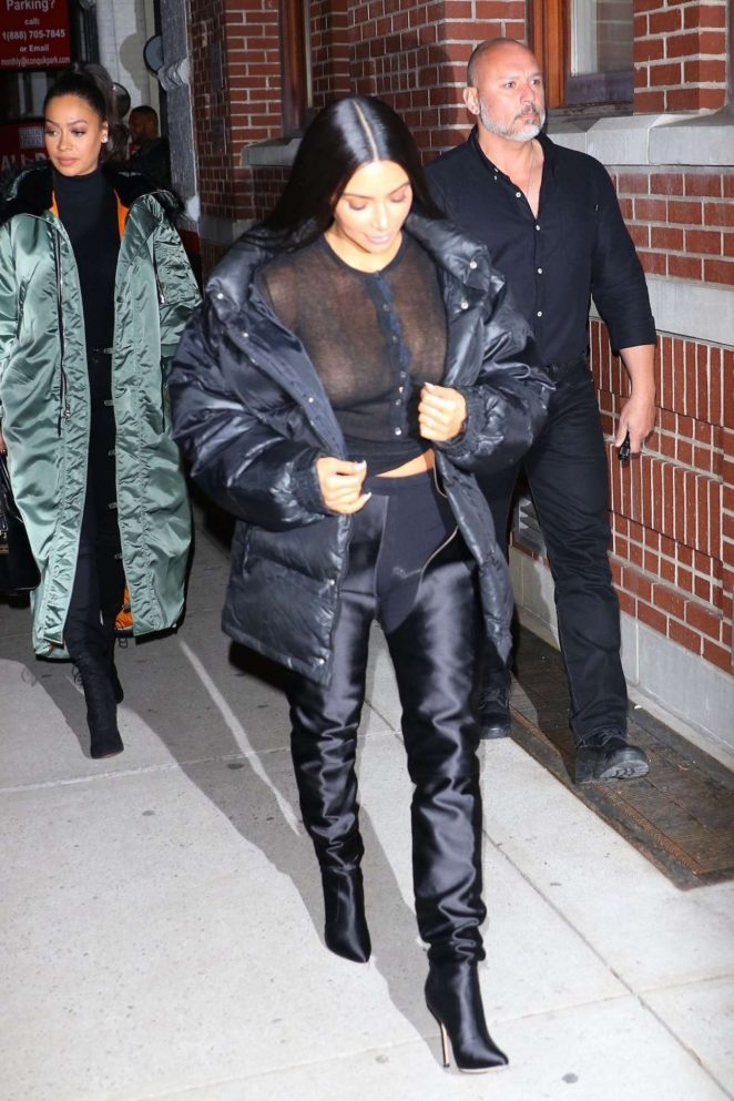 Kim Kardashian in Black Night Out in New York