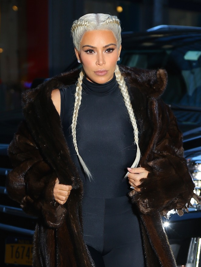 Kim Kardashian in Black Out in New York City