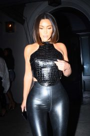 Kim Kardashian in Black Outfit - Arrives at Craig's in West Hollywood