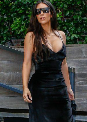 Kim Kardashian in Black Satin Dress at Kanye's Saint Pablo Show 2016 in New York