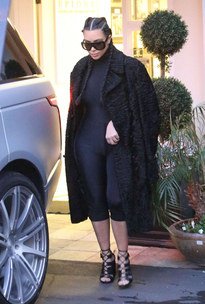 Kim Kardashian in Black Tights out in Beverly Hills