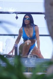 Kim Kardashian in Blue Bikini on Vacation in Costa Rica