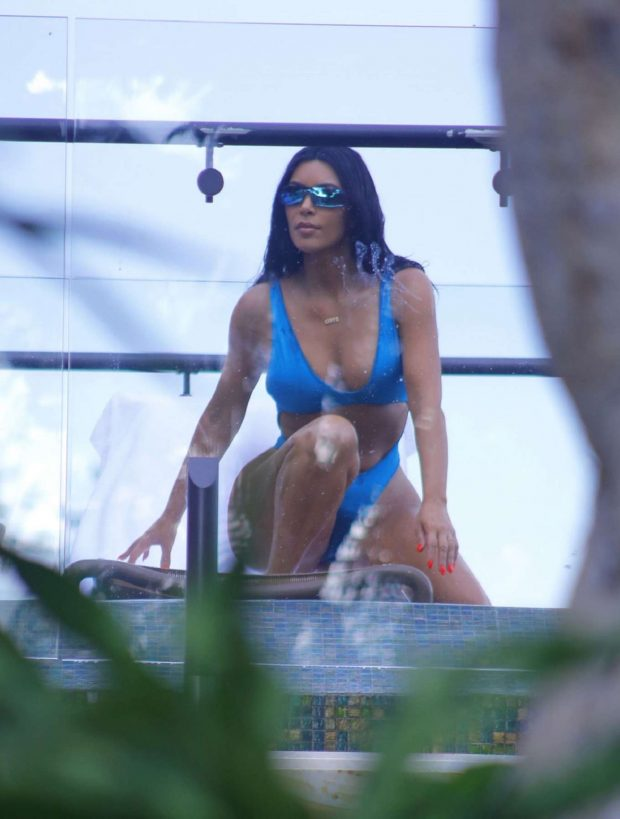 Kim Kardashian in Blue Bikini on Vacation in Costa Rica
