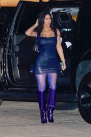 Kim Kardashian - In blue tight mini dress arrives for holiday dinner at Nobu in Malibu