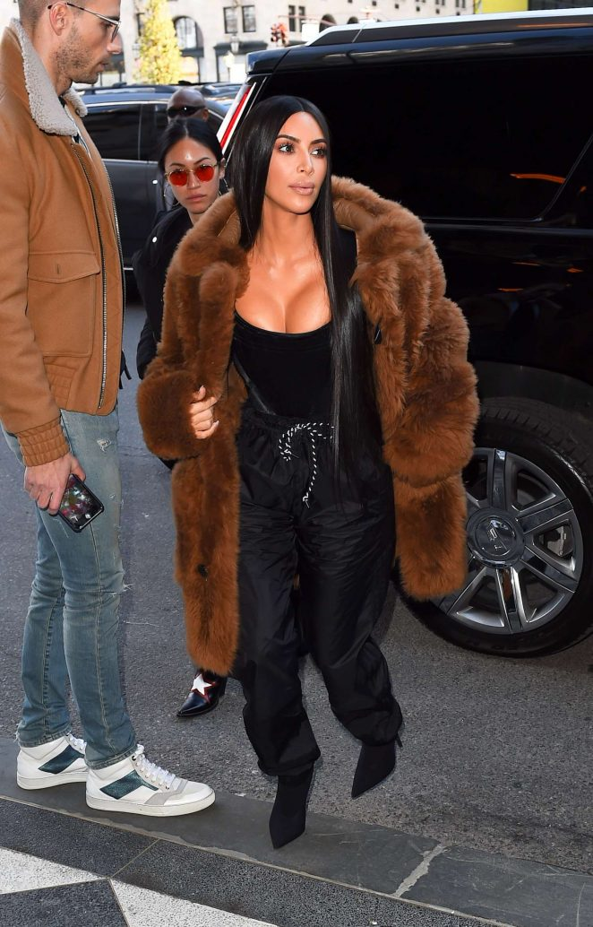 Kim Kardashian in Brown Fur Coat out in New York