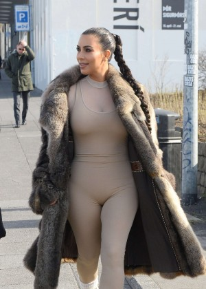 Kim Kardashian in catsuit and fur coat in Iceland