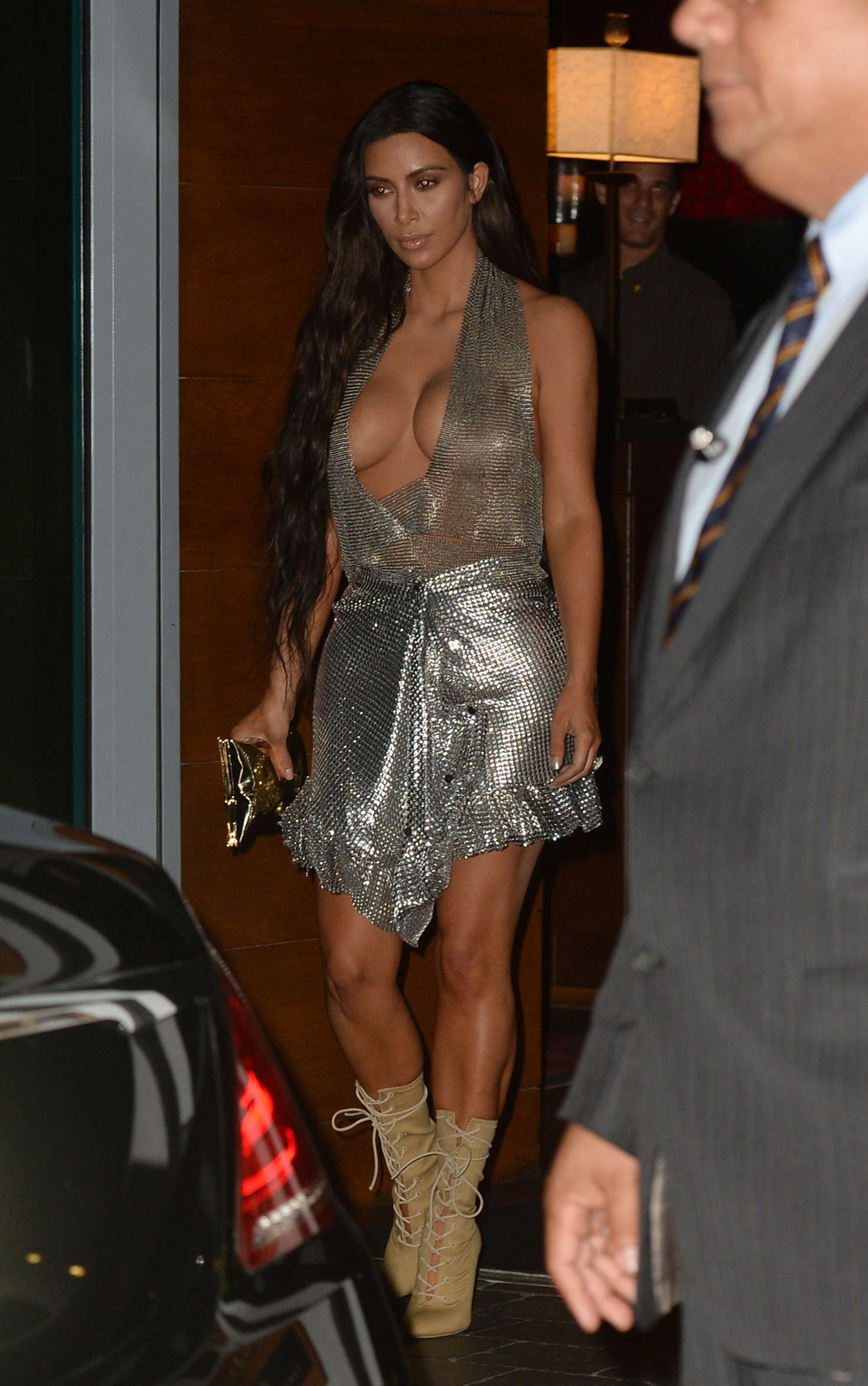 Kim Kardashian in Chain Mail Dress out in Miami