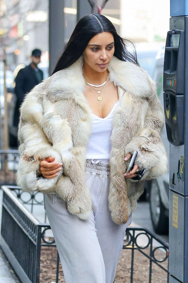 Kim Kardashian in Fur Coat Out for lunch in NYC