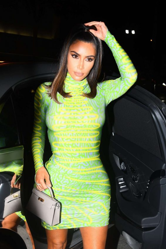 Kim Kardashian in Green Mini Dress at Craig's in West Hollywood