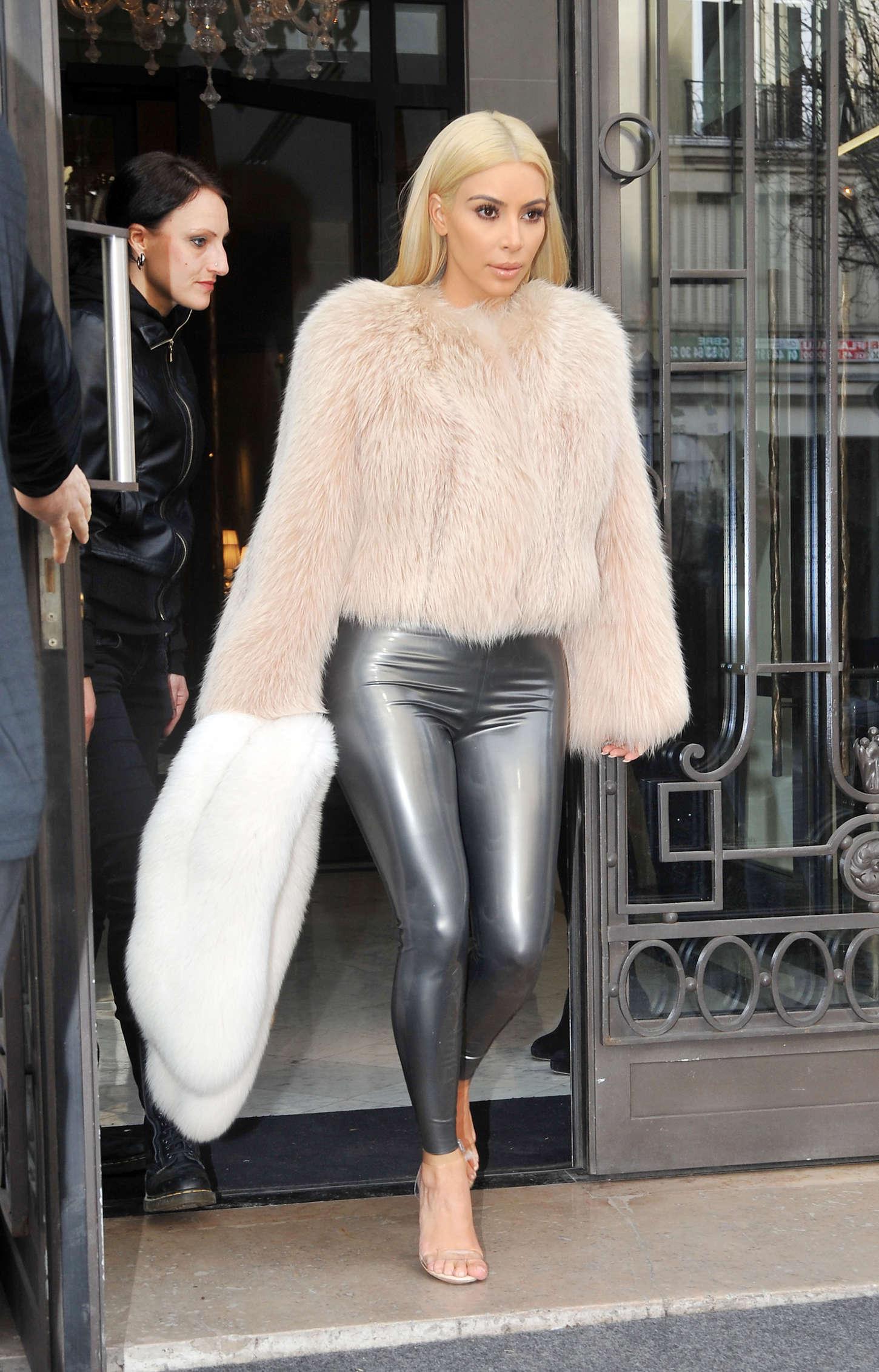 Kim Kardashian in Leather Pants Out in Paris