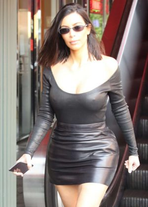 Kim Kardashian in Leather Skirt at Chin Chin in the Studio City