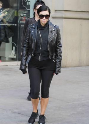 Kim Kardashian in Leggings Out in NYC