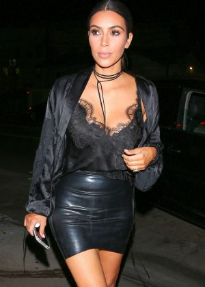 Kim Kardashian in Mini Skirt Leaving Giorgio Baldi in Santa Monica