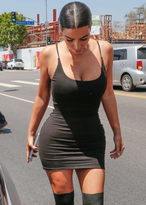 Kim Kardashian in Short Black Dress out in LA