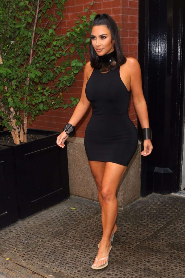 Kim Kardashian in Short Black Dress - Out in New York City
