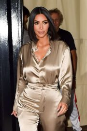 Kim Kardashian in Silver Outfit - Leaving The Mercer Hotel in New York