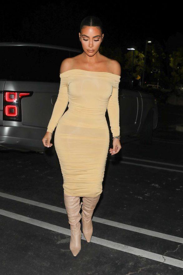 Kim Kardashian in Tight Dress at a gas station in Calabasas