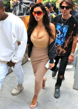 Kim Kardashian in Tight Dress out in Toronto