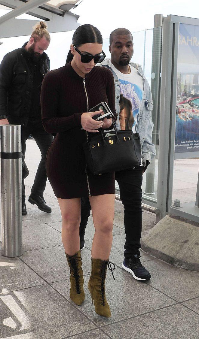 Kim Kardashian in Tight Mini Dress at Heathrow in London