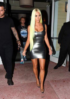 Kim Kardashian in Tight Mini Dress - Out in Miami