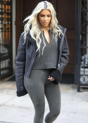 Kim Kardashian in Tights - Out in Beverly Hills
