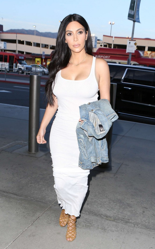 Kim Kardashian in White Dress at LAX airport in LA