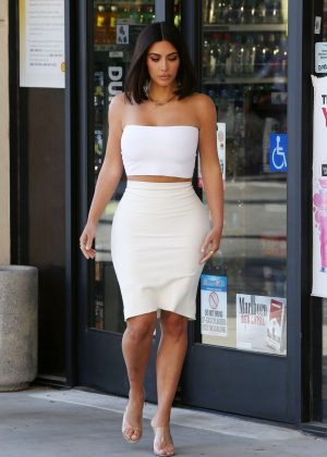 Kim Kardashian in White out in Los Angeles