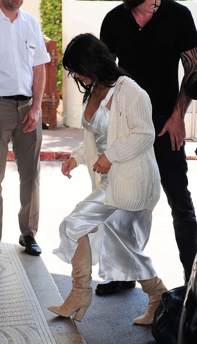 Kim Kardashian in White Satin Dress at Martinez Hotel in Cannes