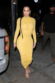 Kim Kardashian in yellow dress at Carousel restaurant in Glendale