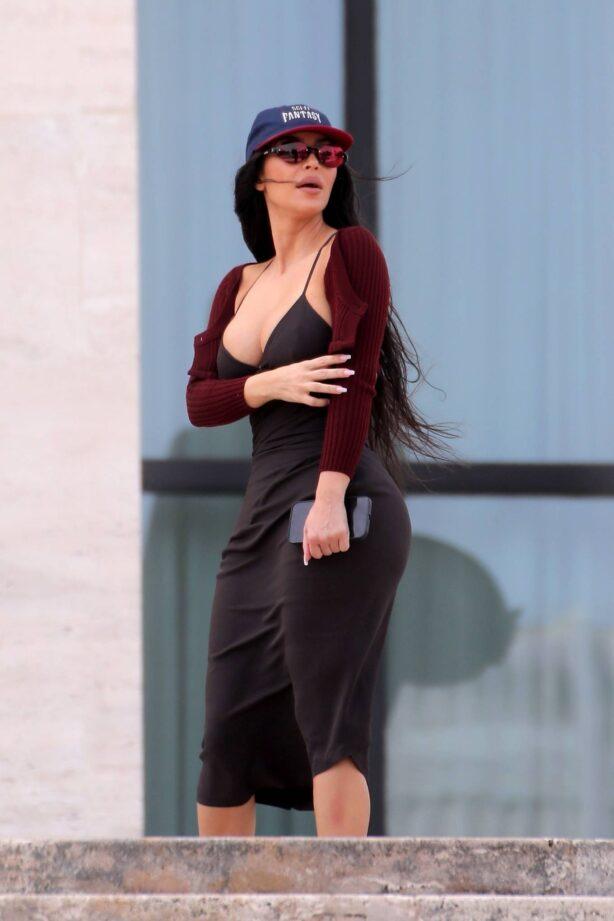 Kim Kardashian - is seen outside Fendi for a meeting in Rome