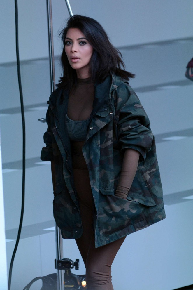 Kim Kardashian - Kanye West 2015 Fashion Show in NYC
