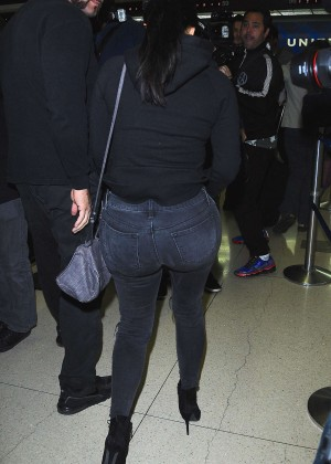 Kim Kardashian in Jeans at LAX Airport in LA